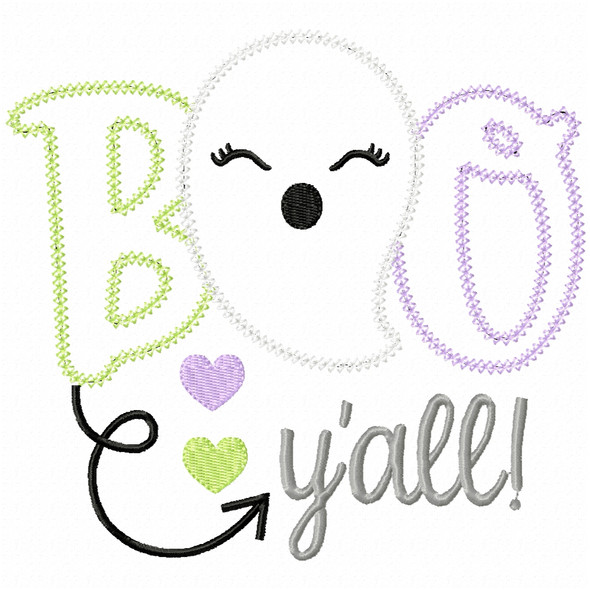 Boo Yall Ghost Vintage and Chain Applique Machine Embroidery Design