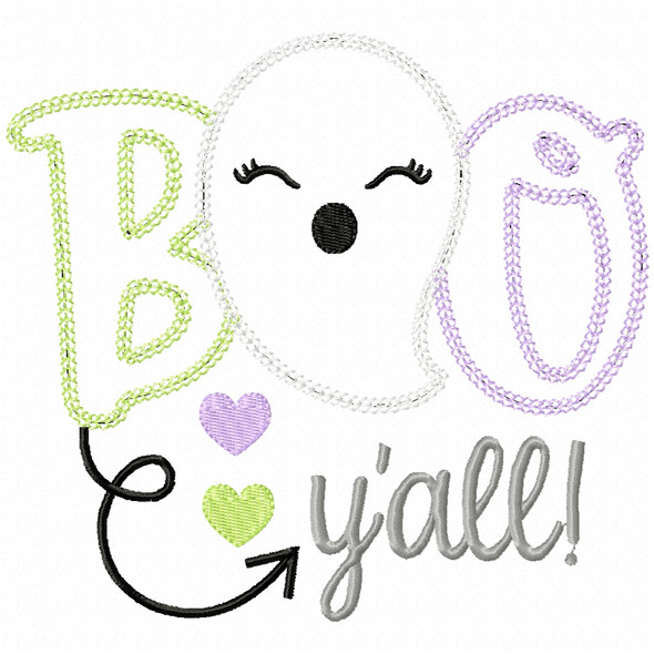 Boo Yall Ghost Vintage and Chain Applique
