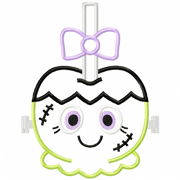 Girly Franken Candy Apple Satin and Zigzag Applique Machine Embroidery Design