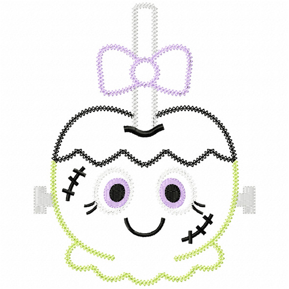 Girly Franken Candy Apple Vintage and Chain Applique Machine Embroidery Design