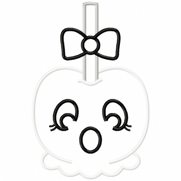 Girly Ghost Candy Apple Satin and Zigzag Applique Machine Embroidery Design