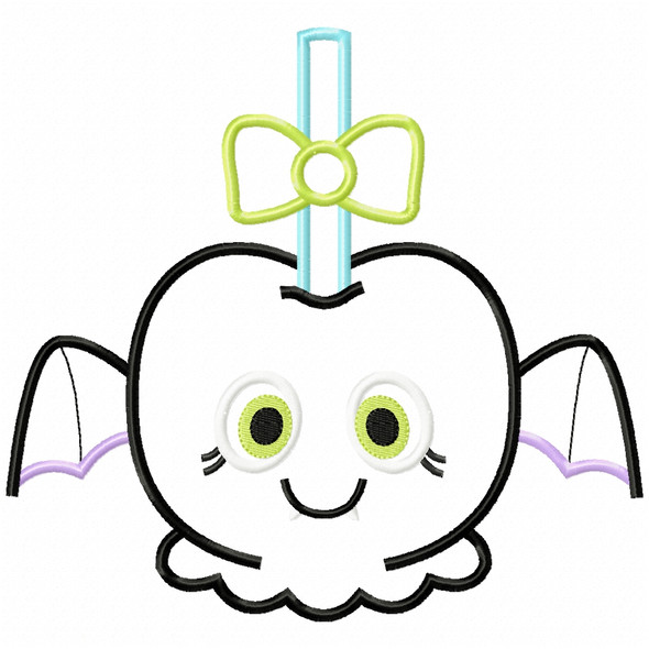 Girly Bat Candy Apple Satin and Zigzag Applique Machine Embroidery Design