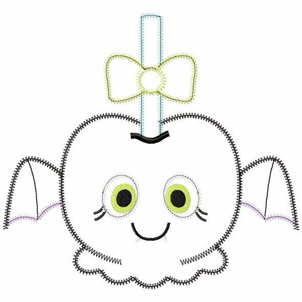 Girly Bat Candy Apple Satin and Zigzag Applique