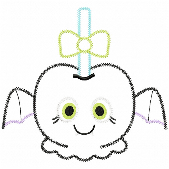 Girly Bat Candy Apple Vintage and Chain Applique Machine Embroidery Design