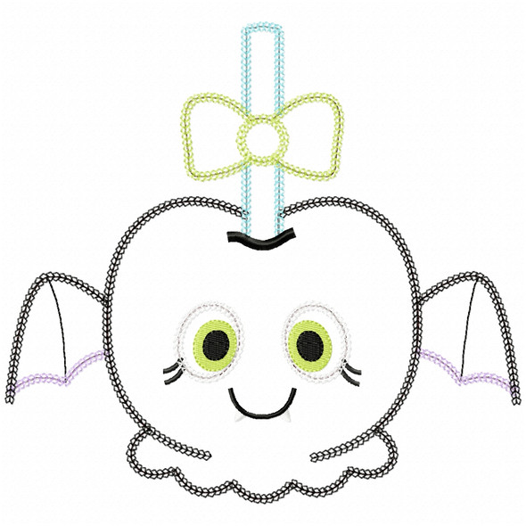 Girly Bat Candy Apple Vintage and Chain Applique