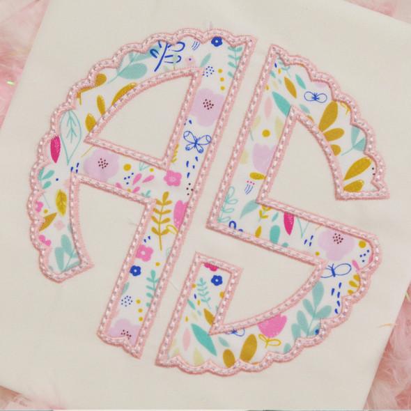Scallop Monogram Applique Alpha Machine Embroidery Design