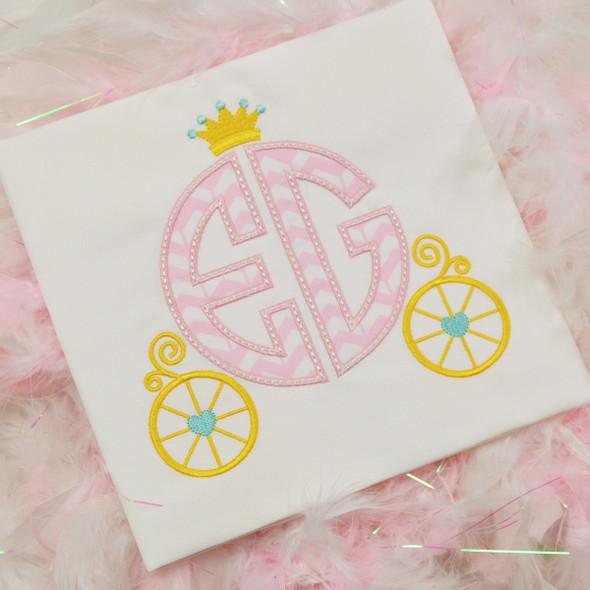 Princess Carriage Monogram Applique Alpha Machine Embroidery Design