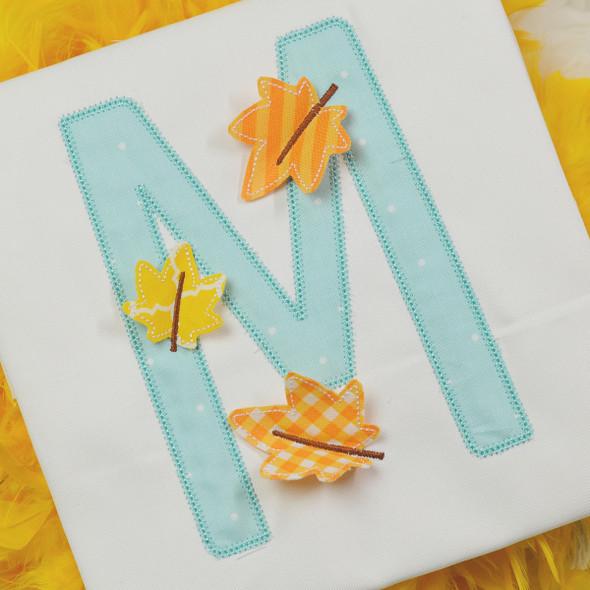 3D Leaf Applique Alpha Machine Embroidery Design