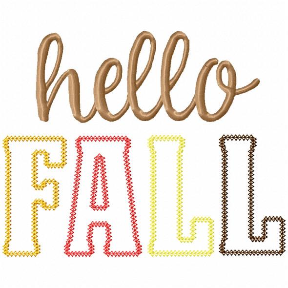 Hello Fall Vintage and Chain Applique Machine Embroidery Design