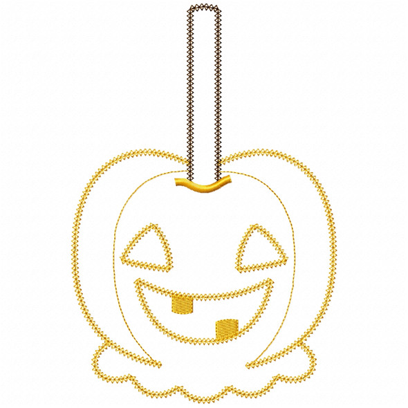 Jack O Lantern Candy Apple Vintage and Chain Applique Machine Embroidery Design