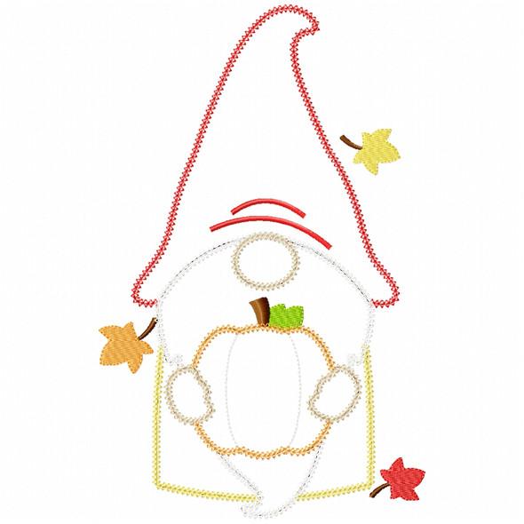 Pumpkin Gnome Vintage and Chain Applique Machine Embroidery Design