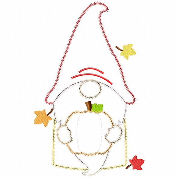 Pumpkin Gnome Satin and Zigzag Applique