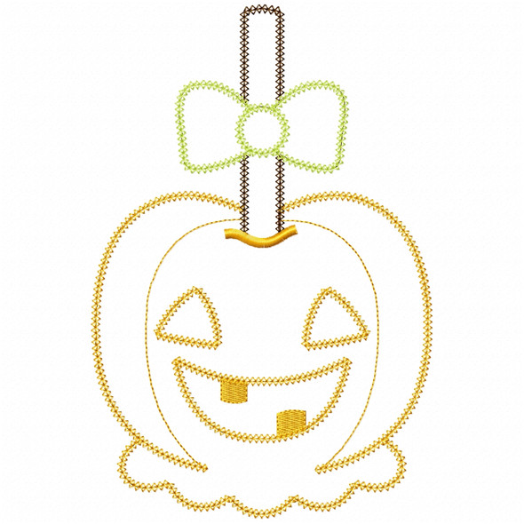 Girly Jack O Lantern Candy Apple Vintage and Chain Applique Machine Embroidery Design