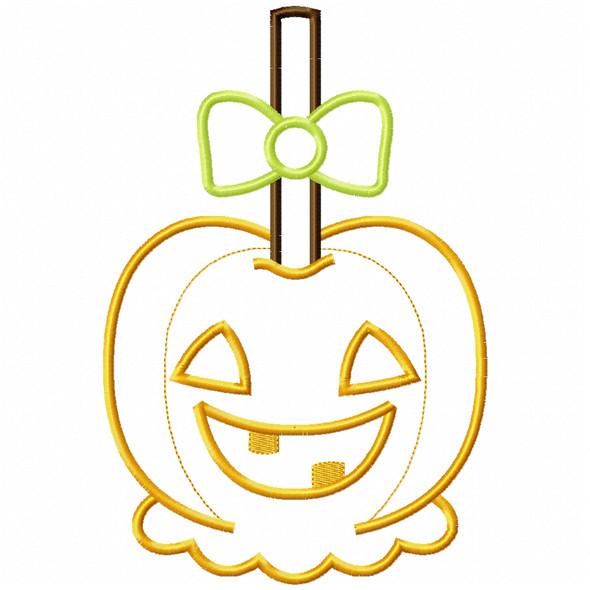 Girly Jack O Lantern Candy Apple Satin and Zigzag Applique