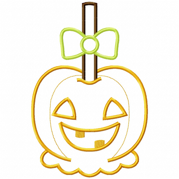 Girly Jack O Lantern Candy Apple Satin and Zigzag Applique Machine Embroidery Design
