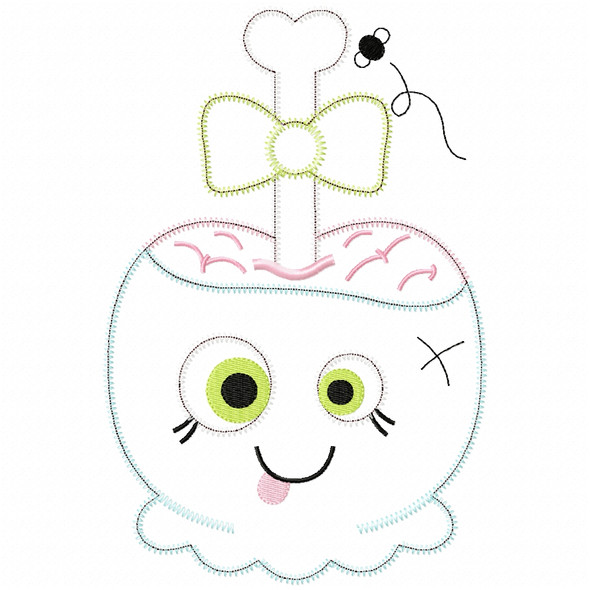 Girly Zombie Candy Apple Satin and Zigzag Applique