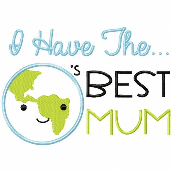 Worlds Best Mum Satin and Zigzag Applique Machine Embroidery Design