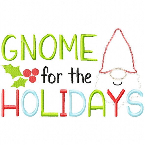 Gnome for the Holidays Vintage and Chain Applique Machine Embroidery Design
