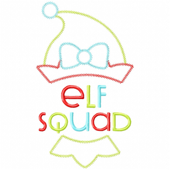 Girl Elf Squad Vintage and Chain Applique Machine Embroidery Design