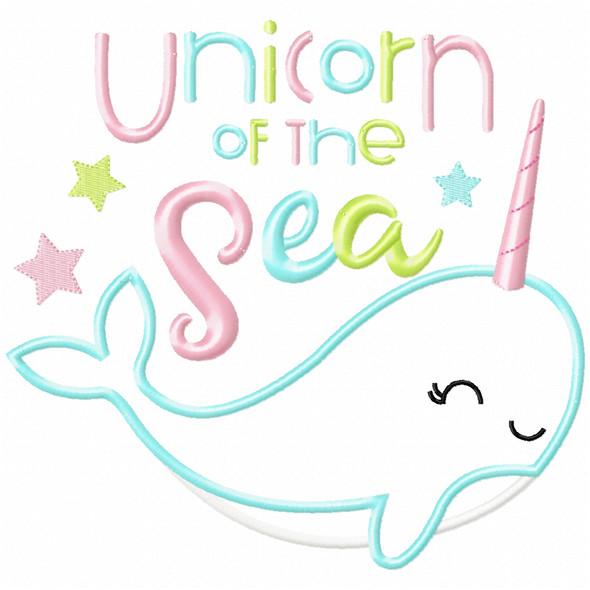 Unicorn of the Sea Narwhale Satin and Zigzag Applique Machine Embroidery Design