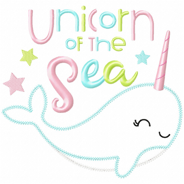 Unicorn of the Sea Narwhale Vintage and Chain Applique Machine Embroidery Design