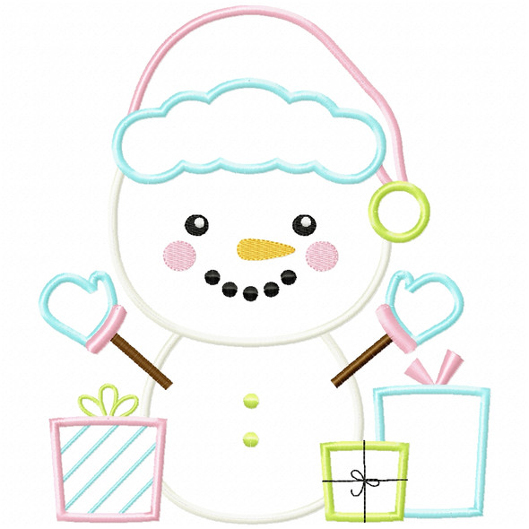 Christmas Snowman Satin and Zigzag Applique Machine Embroidery Design