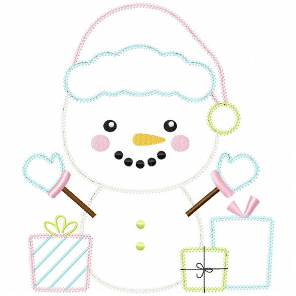 Christmas Snowman Vintage and Chain Applique