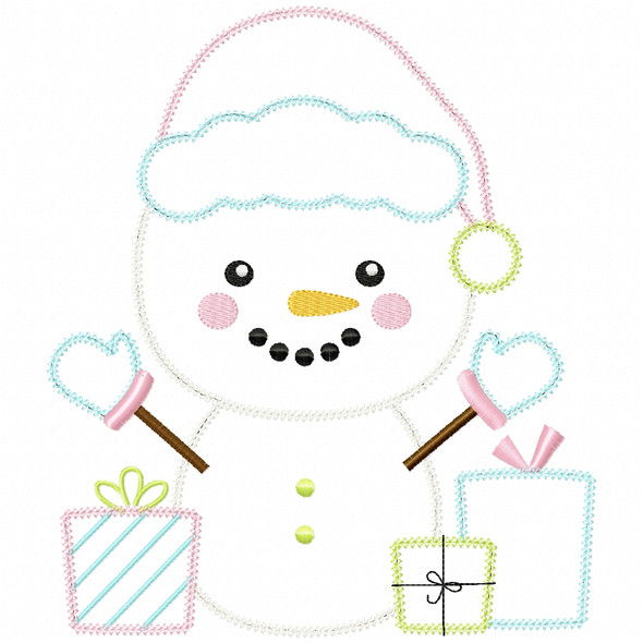 Christmas Snowman Vintage and Chain Applique Machine Embroidery Design