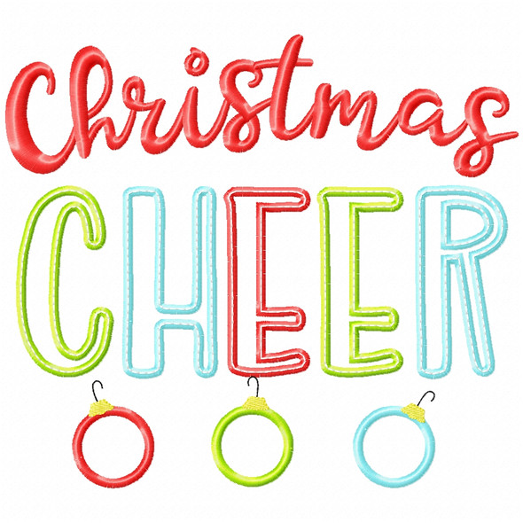 Christmas Cheer Satin and Zigzag Applique Machine Embroidery Design