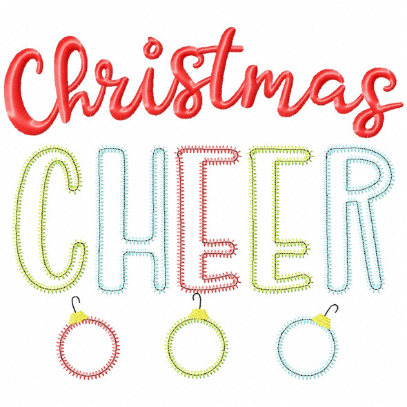 Christmas Cheer Satin and Zigzag Applique