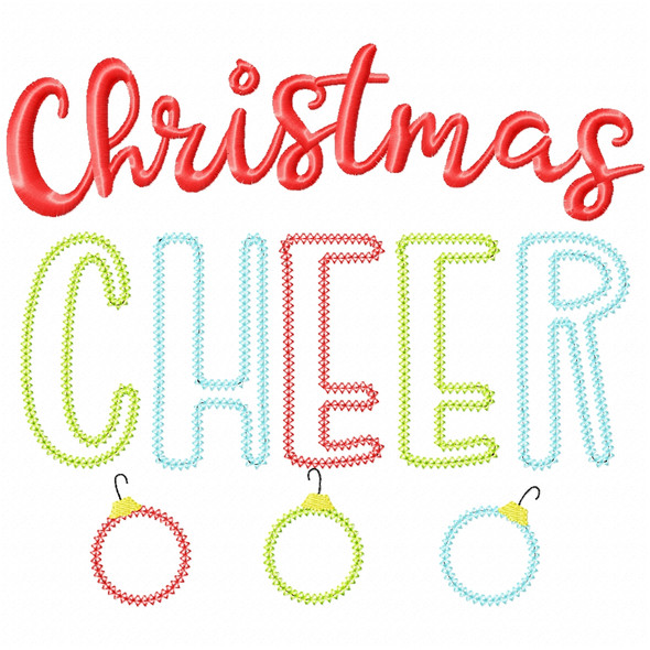 Christmas Cheer Vintage and Chain Applique Machine Embroidery Design