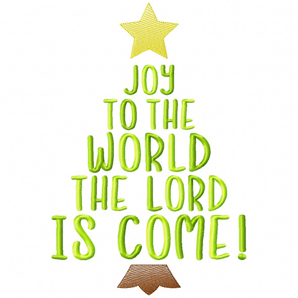 Joy to the World Simple Stitch and Sketch Fill Applique Machine Embroidery Design