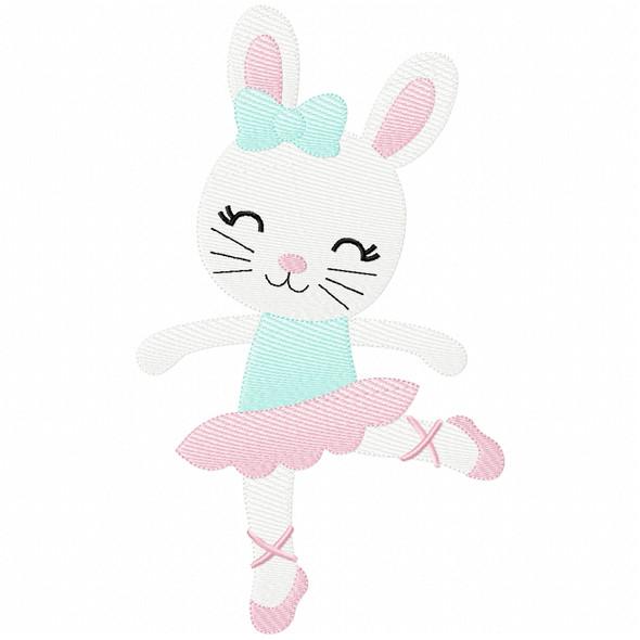 Ballerina Bunny Simple Stitch and Sketch Fill Applique Machine Embroidery Design