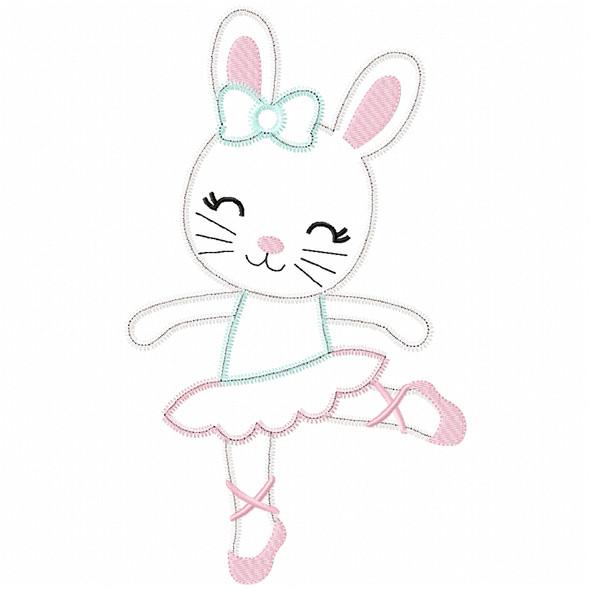 Ballerina Bunny Satin and Zigzag Applique