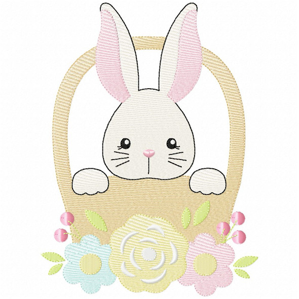 Basket Bunny Simple Stitch and Sketch Fill Applique Machine Embroidery Design