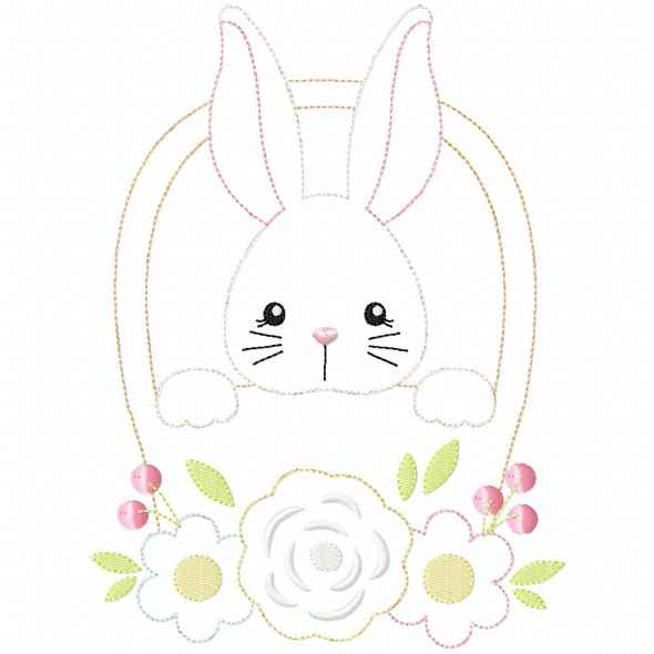 Basket Bunny Simple Stitch and Sketch Fill Applique