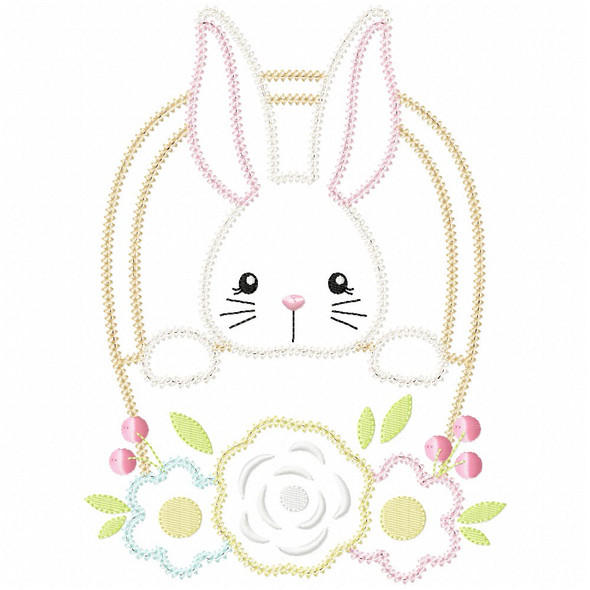 Basket Bunny Vintage and Chain Applique Machine Embroidery Design