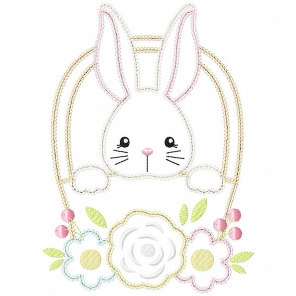 Basket Bunny Vintage and Chain Applique