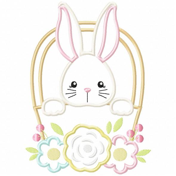 Basket Bunny Satin and Zigzag Applique Machine Embroidery Design