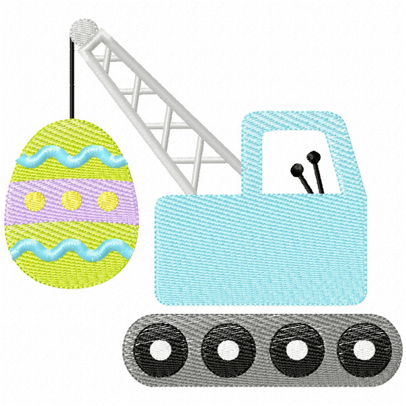Easter Egg Crane Simple Stitch and Sketch Fill Applique Machine Embroidery Design
