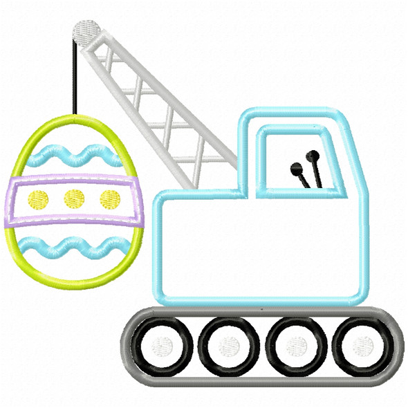 Easter Egg Crane Satin and Zigzag Applique Machine Embroidery Design