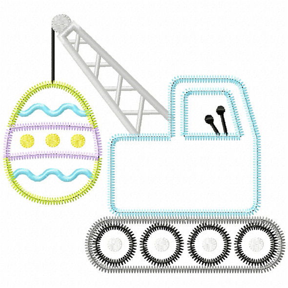 Easter Egg Crane Satin and Zigzag Applique