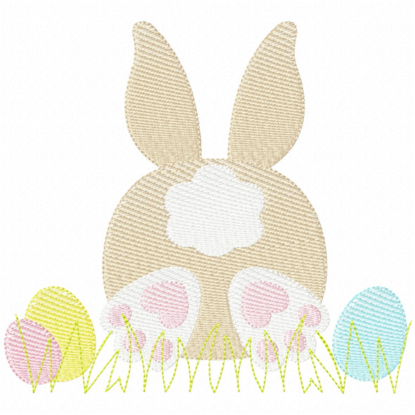Bunny Tail and Eggs Simple Stitch and Sketch Fill Applique Machine Embroidery Design