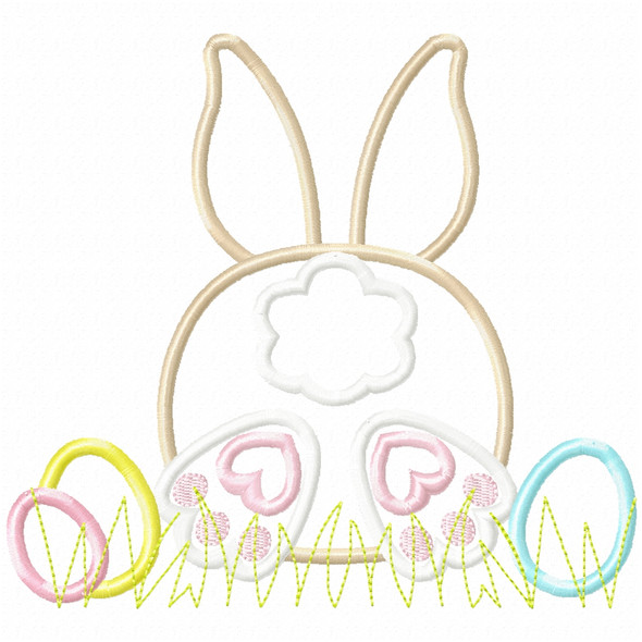 Bunny Tail and Easter Eggs Satin and Zigzag Applique Machine Embroidery Design