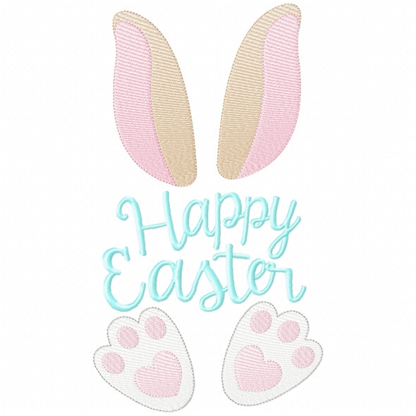Happy Easter Bunny Simple Stitch and Sketch Fill Applique Machine Embroidery Design