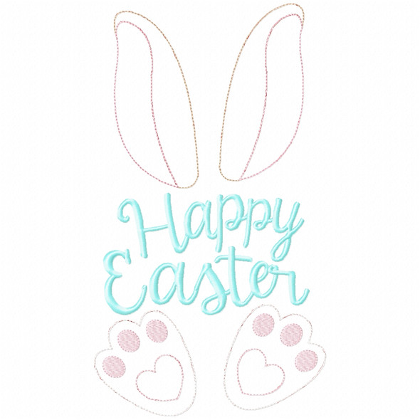 Happy Easter Bunny Simple Stitch and Sketch Fill Applique