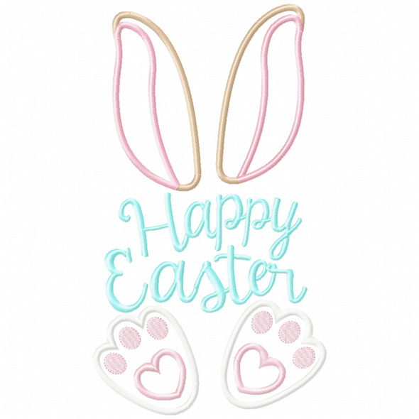 Happy Easter Bunny Satin and Zigzag Applique Machine Embroidery Design
