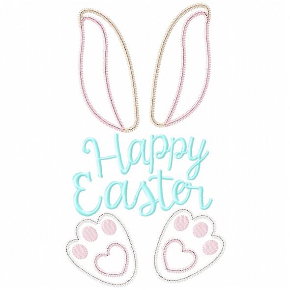 Happy Easter Bunny Satin and Zigzag Applique