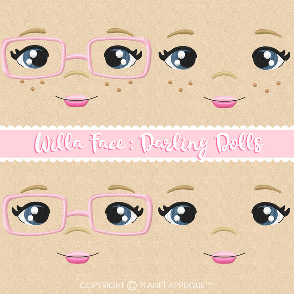 Willa Face Styles For Darling Dolls Machine Embroidery Design