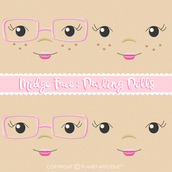 Midge Face Styles For Darling Dolls Machine Embroidery Design